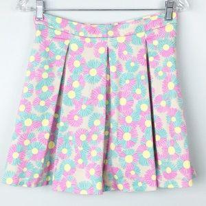 TopShop Skirt 8 Floral A-Line Skater Back Zip